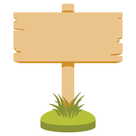 wood grass: Vector illustration of wooden signboard. Cartoon style. Isolated on white. Illustration