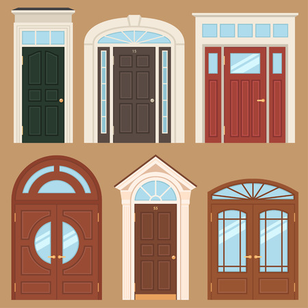 Vector collection of various types of classic wooden entrance doors. Flat style. Ilustrace