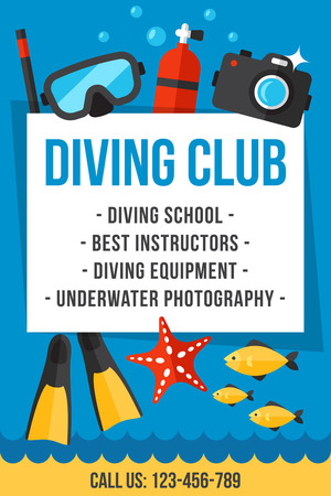 Colorful vector poster for diving club and diving school services. Flat style. Eps 10.