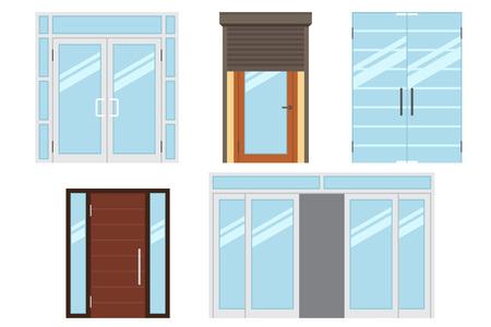 sklo: Vektorové kolekce různých typů moderních vstupních dveří pro kancelář, domov, obchod, nákupní centrum, obchod, supermarket. Na bílém. Plochý styl. Ilustrace