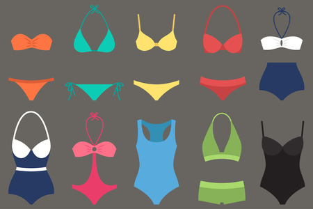 two piece swimsuits: Vector various types of woman swimsuits. Flat style.