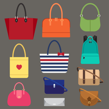 Vector various types of woman bags. Flat style. Vectores