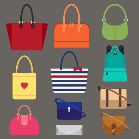 Vector verschillende types van de vrouw zakken. Vlakke stijl. Stock Illustratie