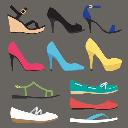 Vector various types of woman summer shoes. Flat style. Side view.