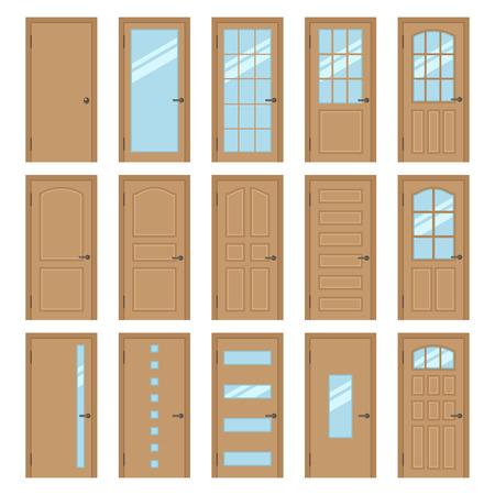 puertas de madera: Vector colección de diferentes tipos de puertas interiores de madera. Aislado en blanco. estilo plano. Vectores