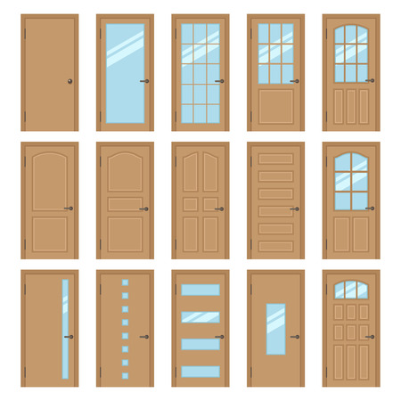 room door: Vector collection of various types of wooden interior doors. Isolated on white. Flat style. Illustration