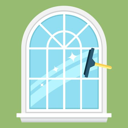 Colorful vector illustration of squeegee cleaning the window. Flat style.