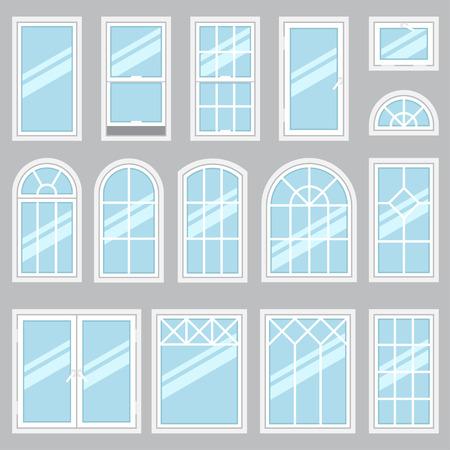 windows: Vector colección de tipos de ventanas Vaus. Para su uso entre y exter. estilo plano.