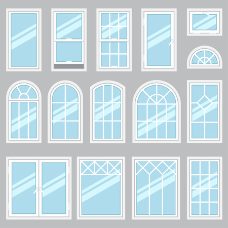 office window view: Vector collection of various windows types. For interior and exterior use. Flat style. Illustration