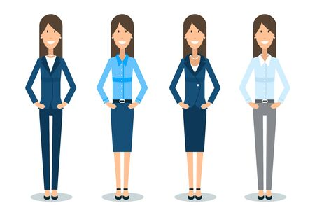 Vector illustration of young happy business woman in different types of office clothes. Flat style. Isolated on white.