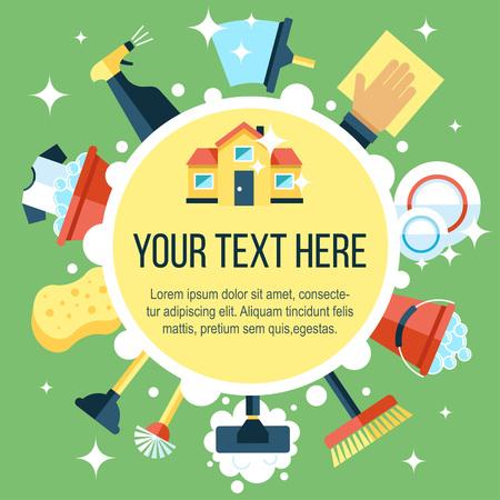maid: Plantilla de colores Vector del cartel de los servicios de limpieza de la casa con diversas herramientas de limpieza. estilo plano. Vectores