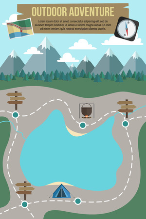 walking trail: Hiking and camping flat design poster template with mountains, forest and route around the lake.