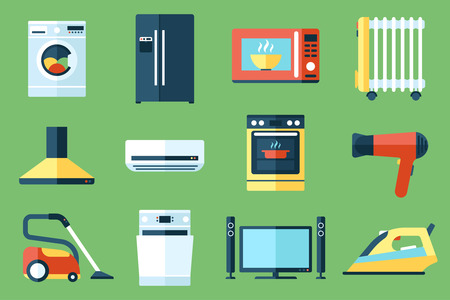 tv: Vector collection of household appliances icons. Flat style. Illustration
