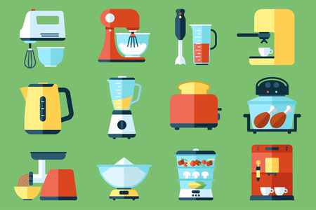 kitchen device: Vector collection of kitchen appliances icons. Flat style. Illustration