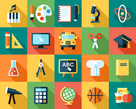 Big vector collection of colorful school icons. Flat style with long shadows.