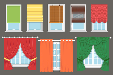 cortinas: colección de vectores de diferentes tratamientos de ventanas: cortinas, cortinas, cortinas, persianas. estilo plano.