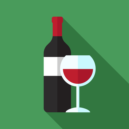 Vector icon of wine bottle and wine glass with red wine. Flat style. Illustration