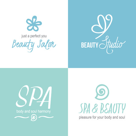 cosmetician: Vector set of logotypes for beauty or hairdressing salon, studio, spa, cosmetician. Hand drawn fonts and design elements. Illustration