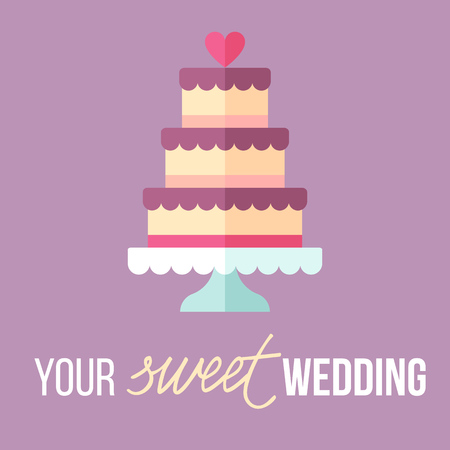Vector illustration of wedding cake with . Modern pastel colors. Flat style. Ilustrace