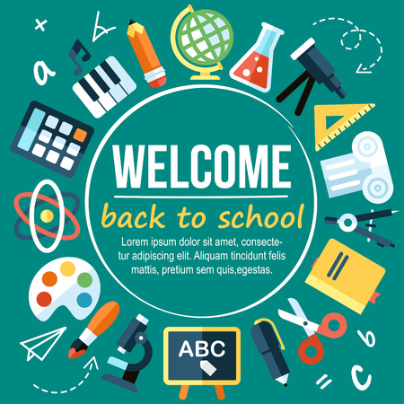 writes: Colorful vector welcome back to school poster template. Flat style. With hand drawn elements and place for your text.