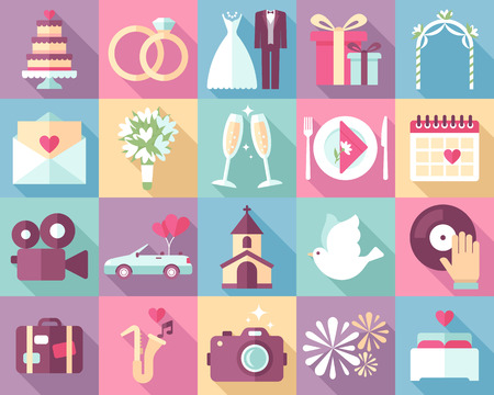 Big vector collection of wedding icons with long shadows. Modern pastel colors. Flat style.