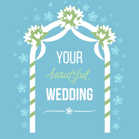 wedding ceremony: Vector illustration of wedding decoration with  and hand drawn elements. Soft pastel colors. Flat style