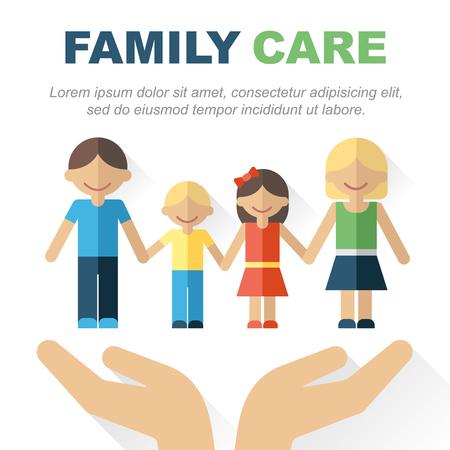 ベクトルの家族ケアと保護の概念。慎重にそれを保持しての手で幸せな家族のイラスト。あなたのテキストのための場所。フラット スタイル。Eps 10