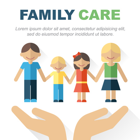 insurance protection: Vector family care and protection concept. Illustration of happy family with hands carefully holding it. Place for your text. Flat style. Eps 10.