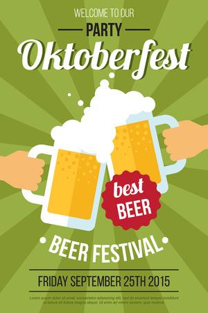 jarra de cerveza: Vector de cartel del festival Oktoberfest cerveza o plantilla de volante. estilo plano.