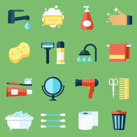 Vettore di set di icone di igiene personale. stile di design piatto. Vettoriali