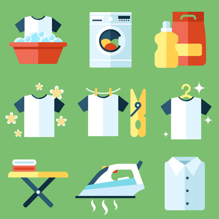 shirts on hangers: Vector set of laundry, clothes washing and ironing icons. Flat style.