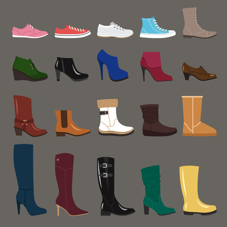 oxford: Vector collection of autumn, winter and spring women shoes. Flat style.