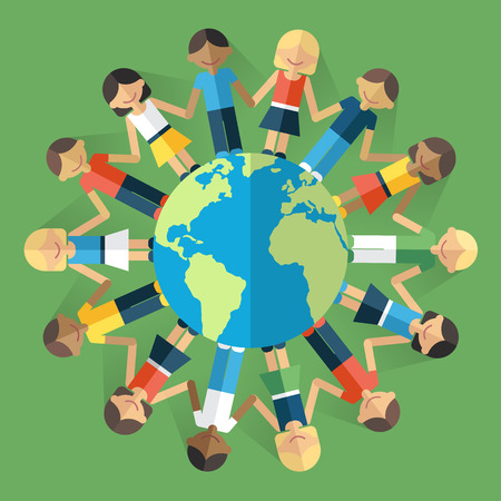 Vector illustration of happy people from all around the world standing on the globe and holding hands. Unity concept. Flat style. Eps 10.