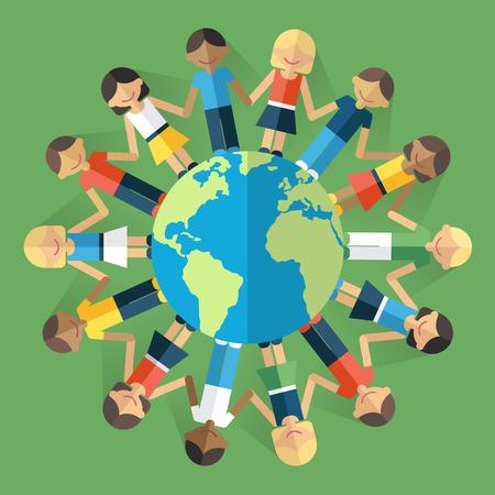 Vector illustratie van gelukkige mensen uit de hele wereld staan op de wereldbol en hand in hand. Unity concept. Vlakke stijl. Eps 10.