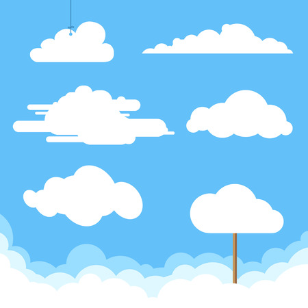 Flat design clouds collection. Vector illustration. Vettoriali