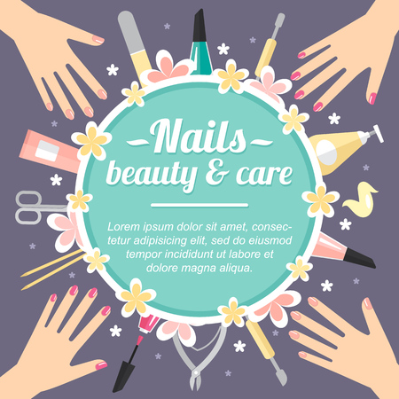 Vector manicure concept with place for your text. Template for card, banner, flyer etc. Flat style.