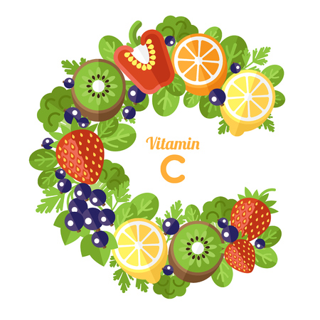 Vector concept of vitamin C. The letter C is made of fruits and vegetables rich in vitamin C. Isolated on white background. Flat style.