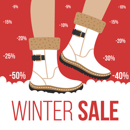 Vector winter sale of footwear concept. Flat style.