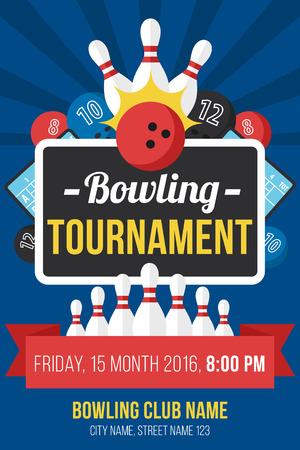 Kleurrijke vector poster sjabloon voor bowling toernooi. Vlakke stijl.