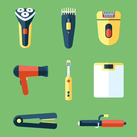 trimmer: Vector collection of personal care and beauty appliances. Flat style. Illustration