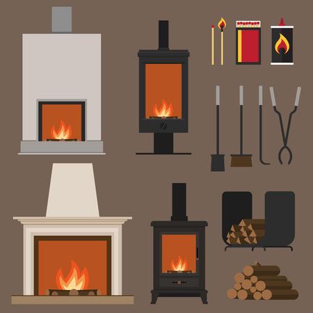 Conjunto de vector chimeneas, con maderas, herramientas y accesorios. estilo plano.