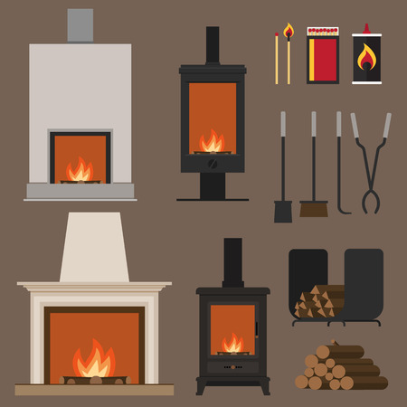 wood stove: Set of vector fireplaces, with woods, tools and accessories. Flat style.