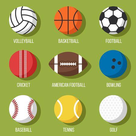 Colorful vector set of sport balls icons: volleyball, basketball, football, cricket, american football, bowling, baseball, tennis, golf. Flat style.