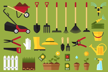 Colorful vector set of garden icons: garden tools, equipment, planting process. Flat style.
