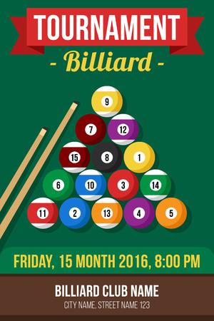Colorful vector poster template for billiard tournament. Flat style. Reklamní fotografie - 53442216