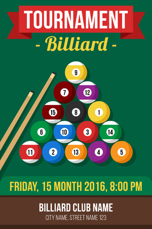 pool table: Colorful vector poster template for billiard tournament. Flat style.