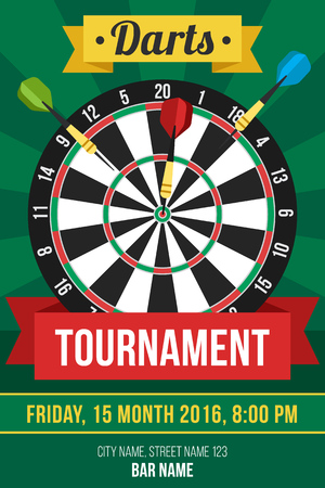 dart on target: Colorful vector poster template for darts tournament. Flat style.