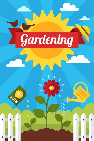 Colorful vector gardening poster or banner design. Flat style.