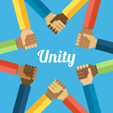 Vector unity concept. Hands with different skin colors holding each other making the star shape. Flat style.