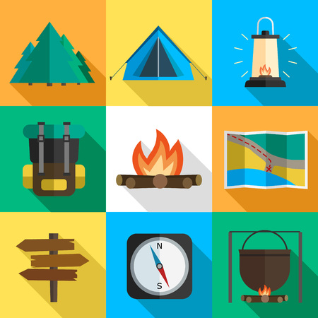Vector set of hiking icons. Flat design style. Ilustrace